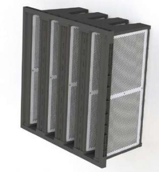 Fitros poliedricos com placas de carvão granulado